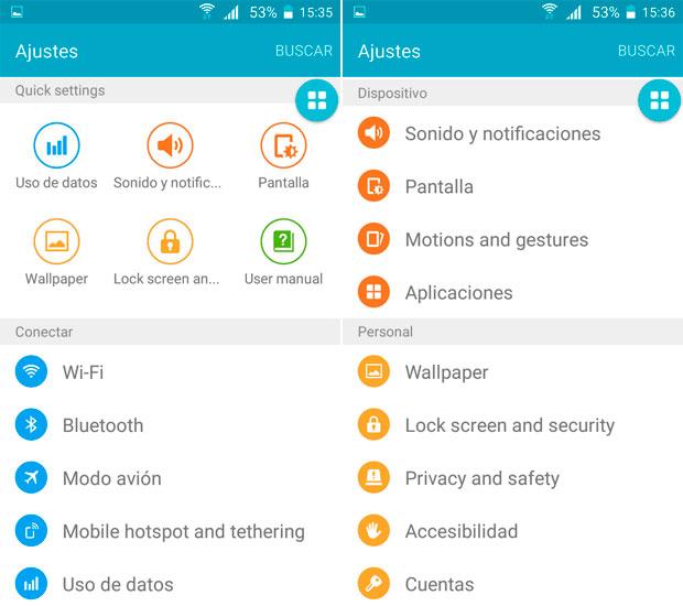 Ajustes en la imitación del Galaxy S6 chino