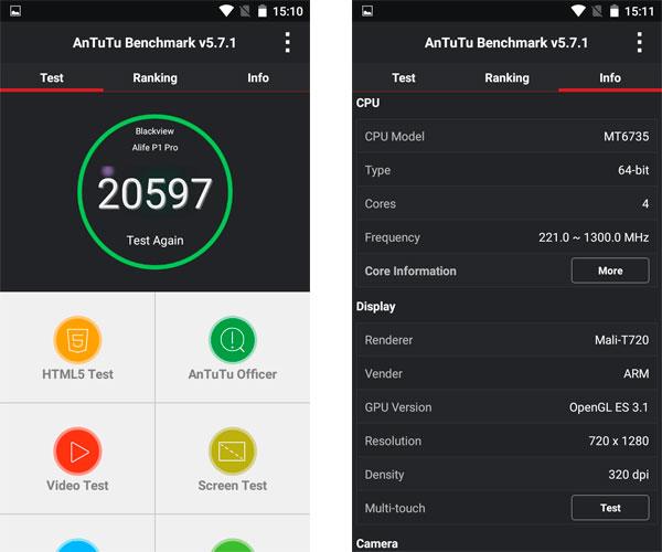 Blackview Alife P1 Pro 20597 puntos en AnTuTu