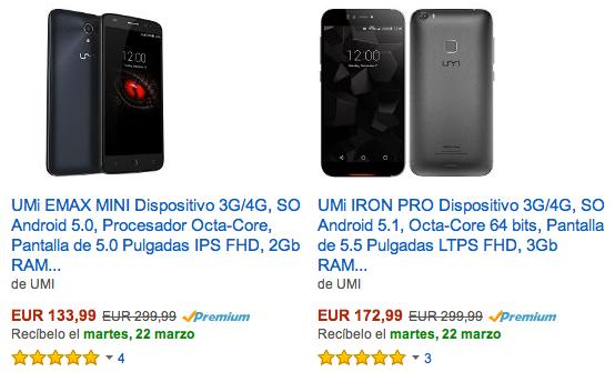 smartphones UMI en la tienda Amazon España
