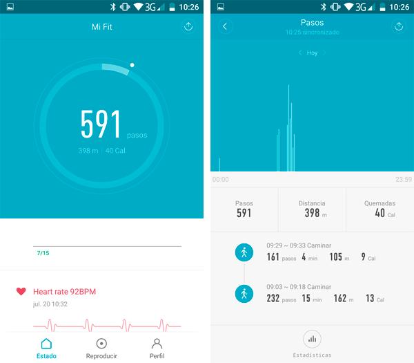 Xiaomi Mi Band 2 contando pasos