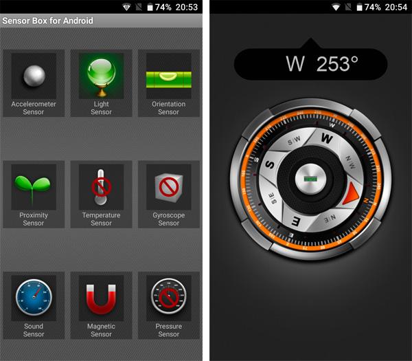 Doogee T5 Lite sensores y brújula