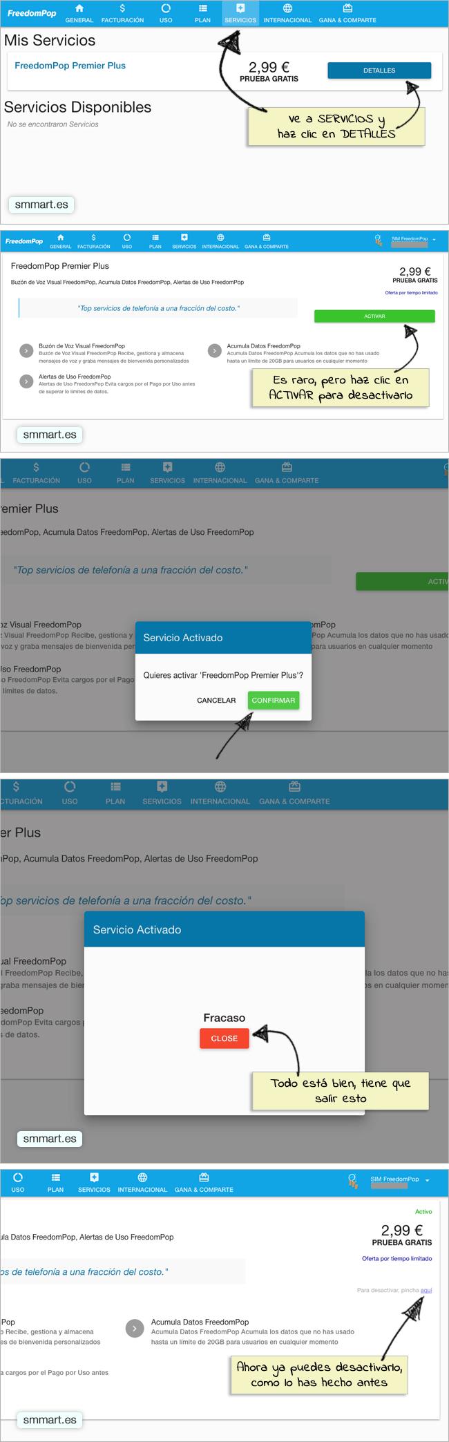 Desactivar el servicio FreedomPop Premier Plus