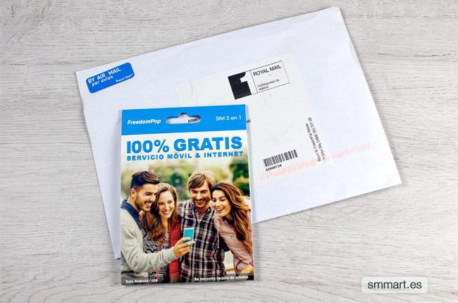 Envío tarjeta SIM FreedomPop Royal Mail