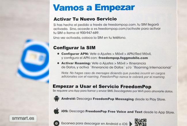 Activar servicio SIM FreedomPop en Android e iOS