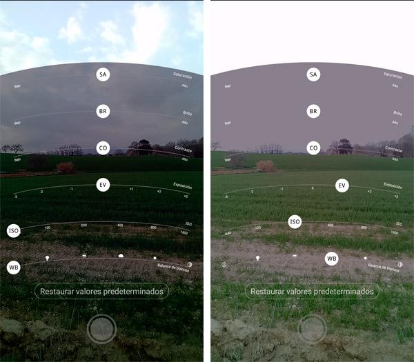 Funciones avanzadas Brillo, contraste, saturación cámara UMI Z