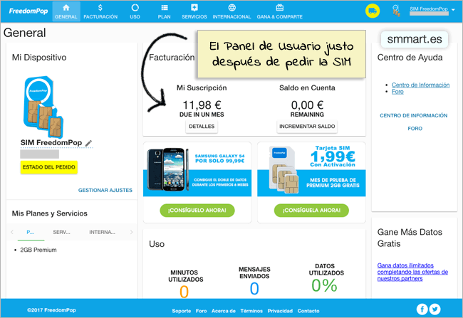 Panel de usuario FreedomPop suscripción Premium 2GB
