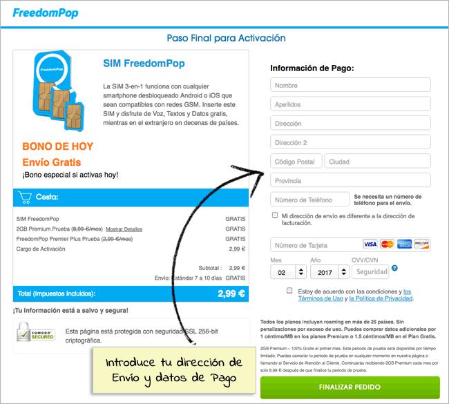 Paso 2: Información de Envío y Pago FreedomPop